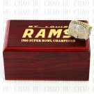 Team Logo wooden case 1999 St Louis Rams Super Bowl Championship Ring 10-13 size solid back