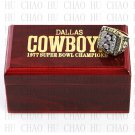 solid back with Team Logo wooden case 1977 Dallas Cowboys Super Bowl Championship Ring 10-13 size