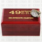 Team Logo wooden case solid back 1981 San Francisco 49ers Super Bowl Championship Ring 10-13 size