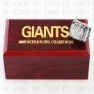 Team Logo wooden case 2007 New York Gaints Super Bowl Championship Ring 10-13 size solid back
