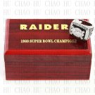 Team Logo wooden case 1980 Oakland Raiders Super Bowl Championship Ring 10-13 size solid back