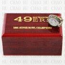 Team Logo wooden case solid back 1981 San Francisco 49ers Super Bowl Championship Ring 10-13 size