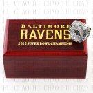 Team Logo wooden case 2012 Baltimore Ravens Super Bowl Championship Ring 10-13 size solid back