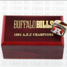 Team Logo wooden Case 1991 Buffalo Bills AFC Football world Championship Ring 10-13 size solid back