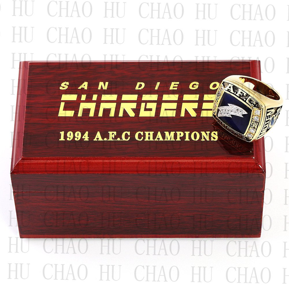 San Diego Chargers Box Office: Team Logo Wooden Case 1994 San Diego Chargers AFC Football