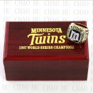Team Logo wooden Case 1987 MINNESOTA TWINS world Series Championship Ring 10-13 size solid back