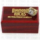 Team Logo wooden Case 2001 ARIZONA DIAMONDBACKS world Series Championship Ring 10-13 size