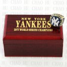 Team Logo wooden Case 1977 New York Yankees world Series Championship Ring 10-13 size solid back