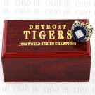 Team Logo wooden Case 1984 DETROIT TIGERS world Series Championship Ring 10-13 size solid back