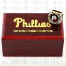 Team Logo wooden Case 1980 PHILADELPHIA PHILLIES world Series Championship Ring 10-13 size