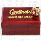 Team Logo wooden Case 1982 ST LOUIS CARDINALS world Series Championship Ring 10-13 size