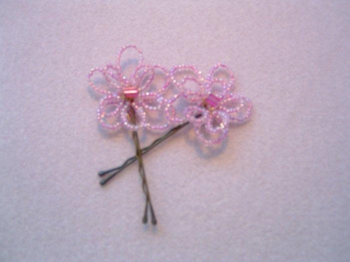 Purple Flower Beaded Hairpin
