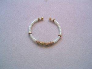 White & Pink Beaded Pearl Bracelet - Bridal-Prom-Formal