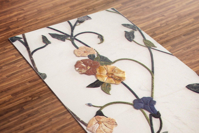 Wall Flower Printed Yoga Mat Thick 5 mm 24 x 72 Pilates White Decor Rug Gift Exercise Meditation