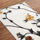 Flower Printed Yoga Mat Thick 5 mm 24 x 72 Pilates White Decor Rug Gift Fitness Exercise Meditation