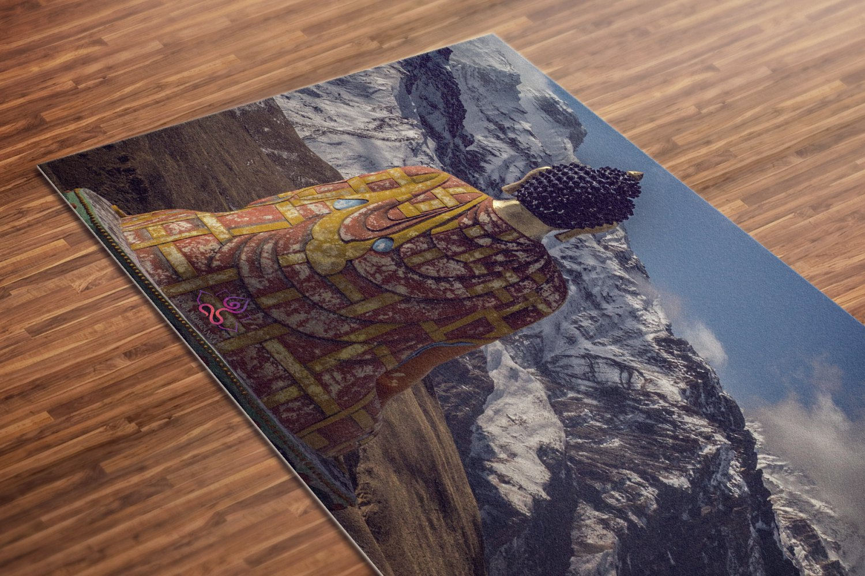 Buddha Printed Yoga Mat Thick 5 mm 24 x 72 Pilates Decor Rug Gift Fitness and Exercise Meditation
