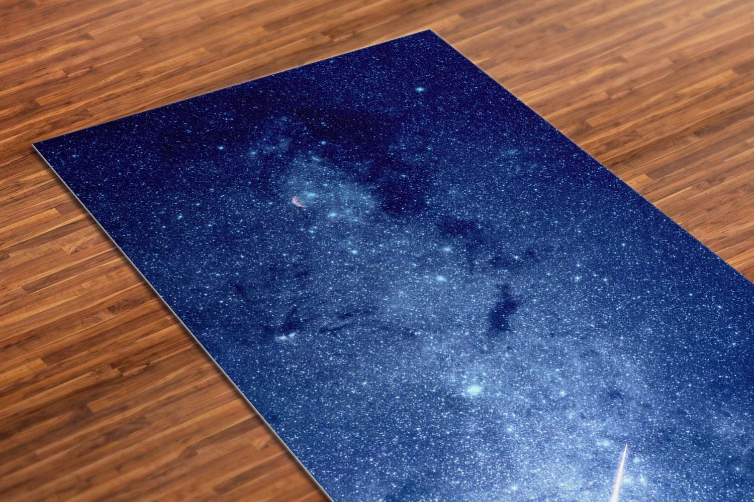 Star Printed Yoga Mat Thick 5 mm 24 x 72 Pilates Blue Decor Rug Gift Fitness and Exercise Meditation