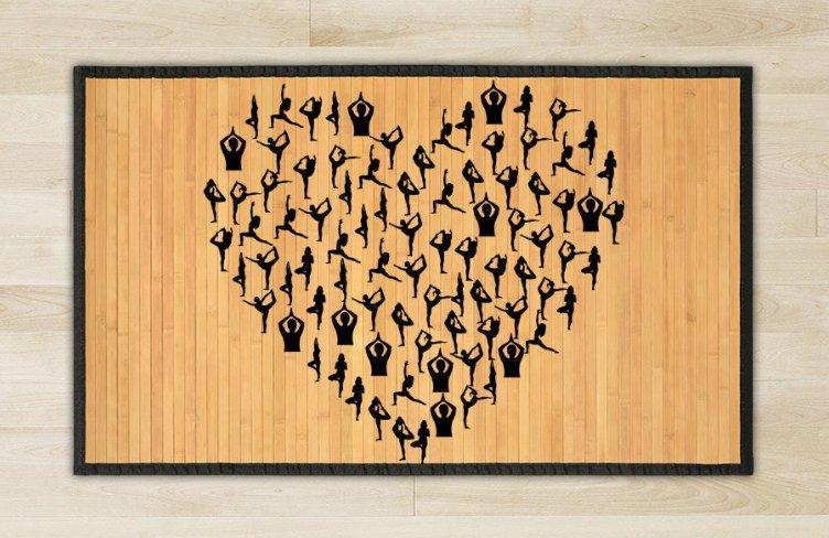 23.6X39.4 Love yoga bamboo natural rug housewarming  brown mat room and great gift