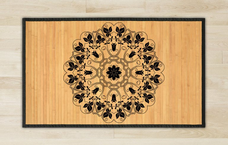 23.6X39.4 Mandala Yin bamboo natural rug housewarming  brown mat bedroom great gift idea meditation