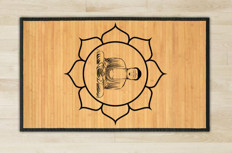 23.6X63 Buddha bamboo natural rug healthy standing play   brown for room and great gift meditation