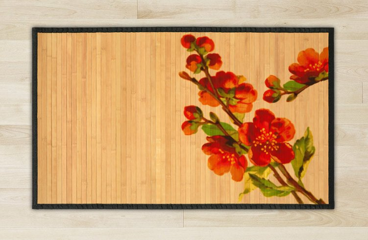 23.6X63 Flower bamboo natural rug housewarming  brown mat room and great gift idea carpet