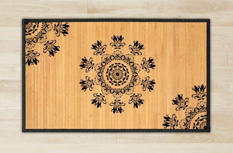 23.6X63 Tri bamboo natural rug housewarming play  brown mat room and great gift meditation decor