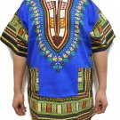Unisex Dashiki Shirts African Top Vintage Hippie Cotton Blouse One Size Blue