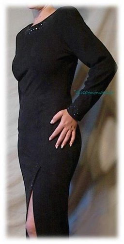 BLACK SUEDE Leather Evening Gown Wiggle Cocktail Dress Size 6