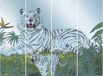 Mirror Dynamics White Tiger Mirrored Wall Art
