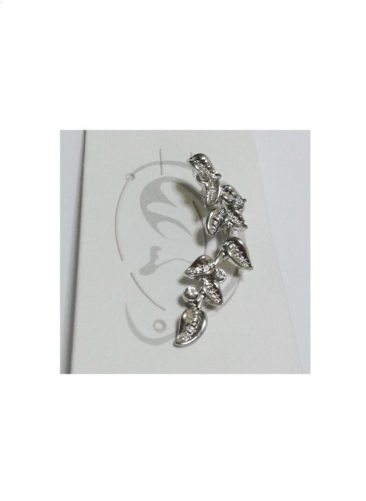Silvertone Leaf Ear Cuff with Rhinestones