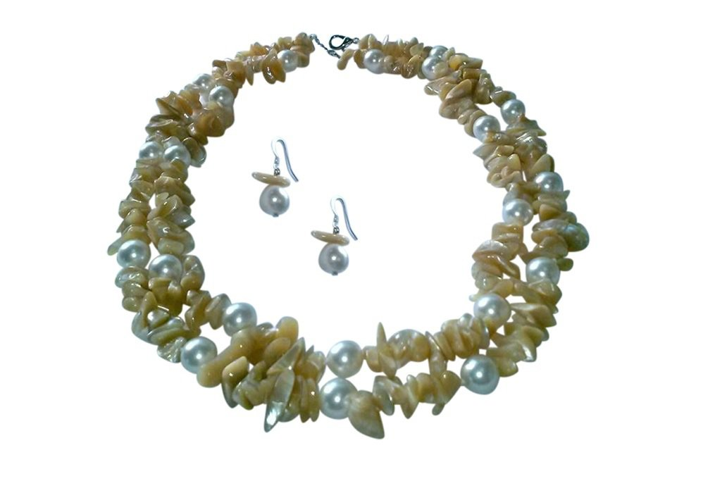 pearl necklace, double strand necklace, classic necklace, neutral color