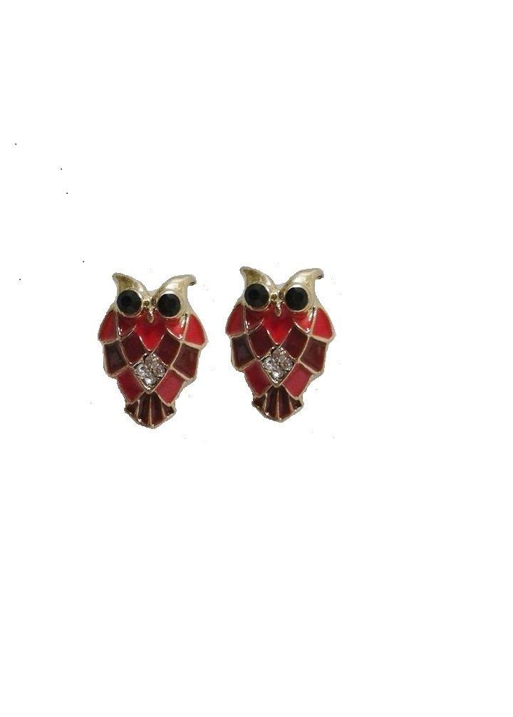 Red Owl Stud Earrings with Black Rhinestone Eyes