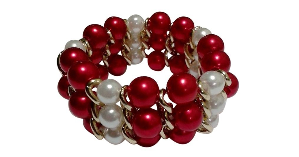 Valentine Red and White 3 Row Simulated Pearl Bracelet, 7.5 to 8 inches