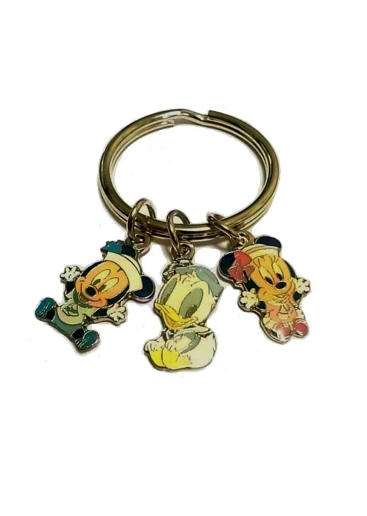 Disney Mickey Mouse, Minnie Mouse and Daffy Duck Key Chain 3 Charms