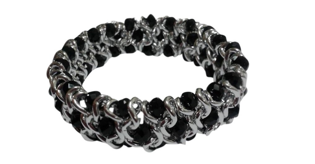 Black Rondell Silver Tone 3 Row Chain Stretch Bracelet, 7.5 to 8 Inches