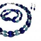 Cat's Eye Blue Two Strand Necklace, Bracelets, Earrings Se