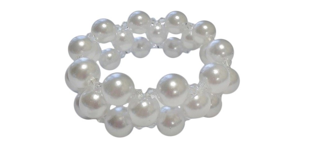 White Simulated Pearl Stretch 3 Row Bracelet, 8 Inches, 8mm