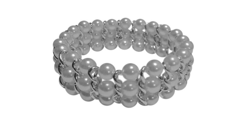 White Simulated Pearl 8mm Chain 3 Row Bracelet, 7.5 to 8 Inches