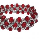 Red Rondell Silver Tone 3 Row Chain Stretch Bracelet, 7.5 to 8 Inches
