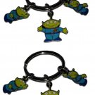 Disney Three Little Green Men From the Toy Story Movie Key Chain, Three Charms