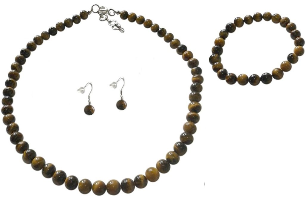 8mm Tiger Eye Brown Necklace, Bracelet and Earrings Set