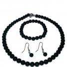 Black Onyx Necklace, Bracelet and Earrings Set
