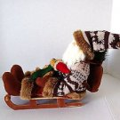 Santa with teddy bear on a wooden sled buy it now $5.99