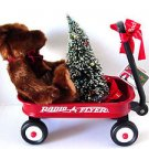 Rare Radio Flyer Little Red Wagon With Bear and Christmas Tree $12.99
