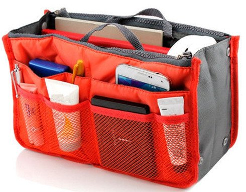 Orange Makeup Bag Top Nylon Casual Cosmetic Bags Multi Function Storage Organizer Ladies Travel Bag