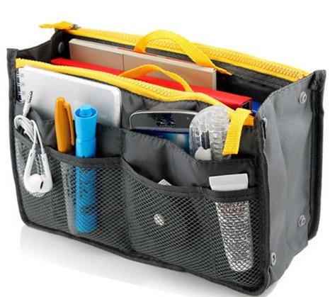 Multifunction Organizer Liner Travel Insert Handbag Pouch Purse Bag in Bag Gray