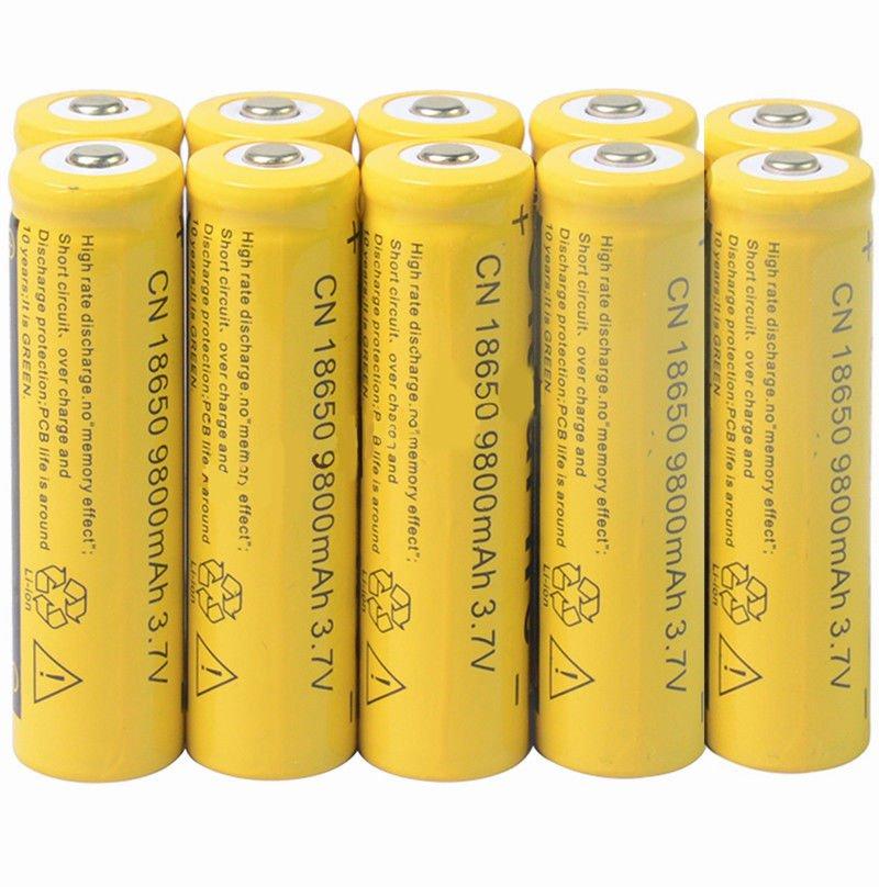 10Pcs 3.7V 9800mAh 18650 Li-ion Rechargeable Batteries For Torch Flashlight