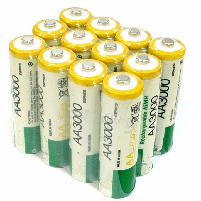 12Pcs 1.2V AA LR06 3000mAh NI-MH Rechargeable Battery CELL 2A