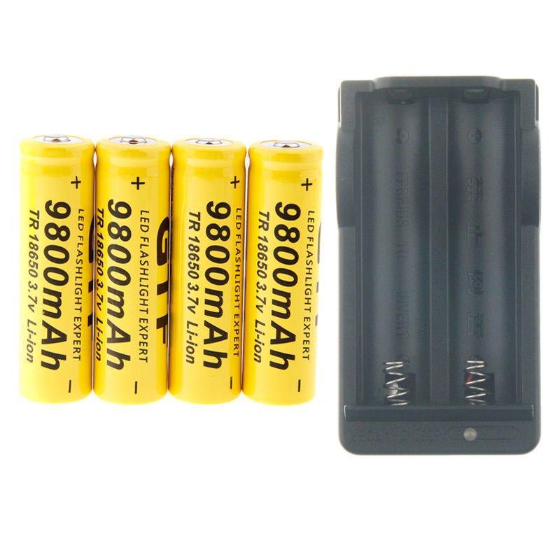 4Pcs 18650 Li-ion Rechargeable Batteries 3.7V 9800mAh + Smart 18650 Charger
