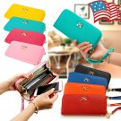 Womens PU Leather Clutch Wallets Long Cell Phone Card Holder Case Handbag Coin Purse Ladies Wristlet